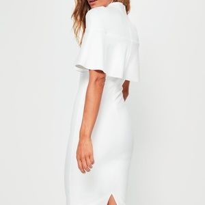 8a9f47b1 Missguided Dresses - White Frill Overlay Shoulder Midi Dress Cape NWT